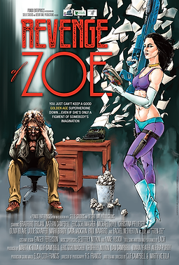 Reveng of Zoe movie poster featuring atrists renditions of a suprheroine with a huge gun , a dstraugh bearded man and a typerwrter. Art by Karl Ottersberg