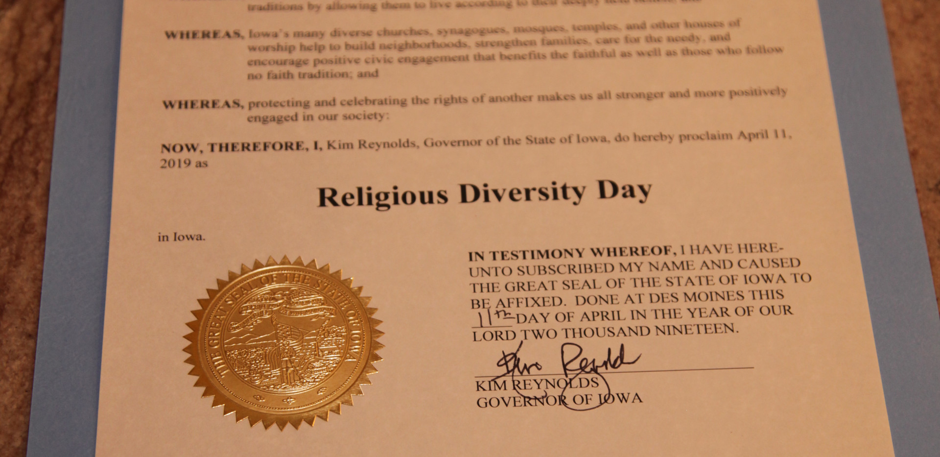 Religious Diversity Day Proclamation