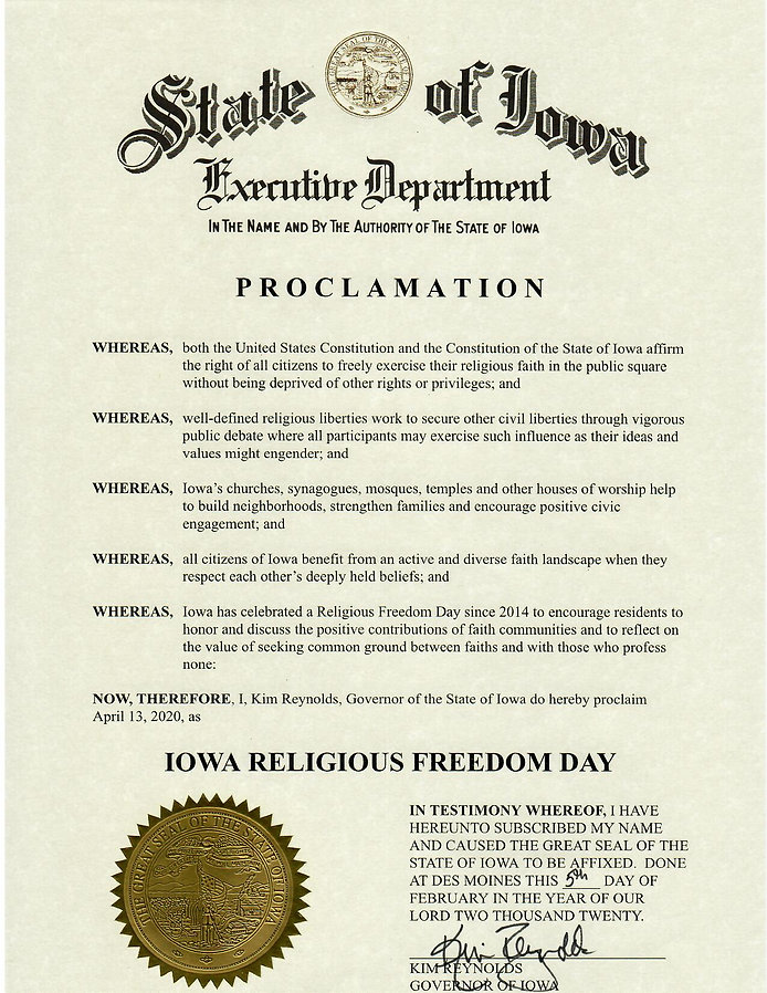 Religious Freedom Day 2020 proclamation.