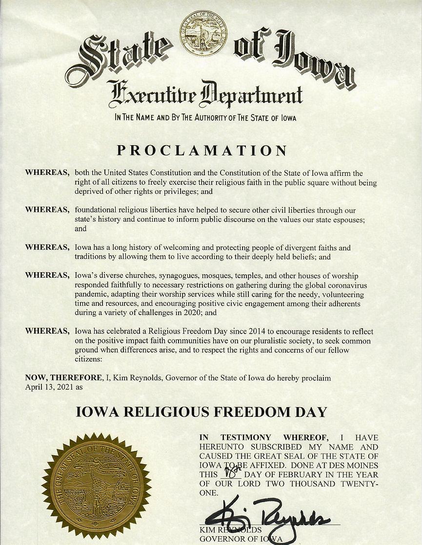 Iowa Religious Freedom Day proclamation