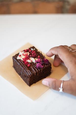 Salted Rose + Raspberry Brownies