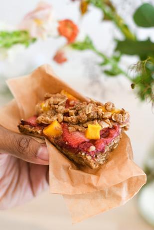 Strawberry + Mango Cobbler Bars