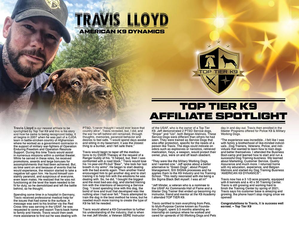 Travis Lloyd American K9 Dynamics Ashtabula Ohio