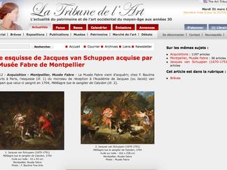 PRESSE // La Tribune de l'Art - Une esquisse de Jacques van Schuppen acquise par le Musée Fabre