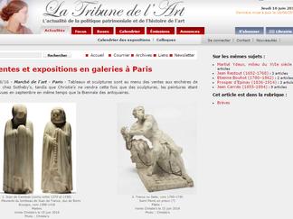 PRESSE // La Tribune de l'Art : Ventes et expositions en galeries à Paris