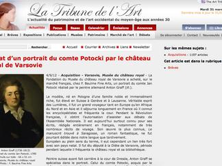 PRESSE // La Tribune de l'Art - Achat d'un portrait du comte Potocki par le château royal de Var