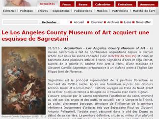 PRESSE // La Tribune de l'Art : Le Los Angeles County Museum of Art acquiert une esquisse de Sag