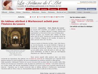 PRESSE // La Tribune de l'Art : Un tableau de Warlencourt acheté par le Musée du Louvre