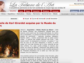 PRESSE // La Tribune de l'Art : Une toile de Girardet acquise par le musée du Désert