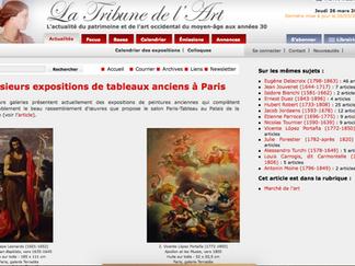 PRESSE // La Tribune de l'Art - Plusieurs expositions de tableaux anciens à Paris