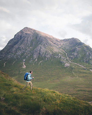 James Forrest Mountain Man, walking opposite the Buachaille Etive Mor in Glencoe during his Munro round