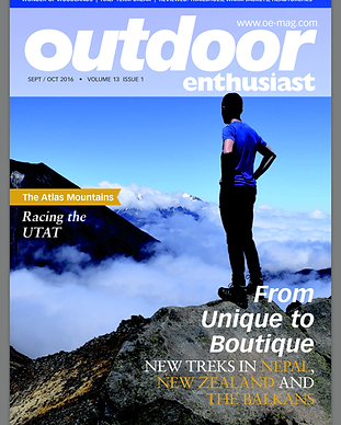 James Forrest on the cover of Outdoor Enthusiast magazine