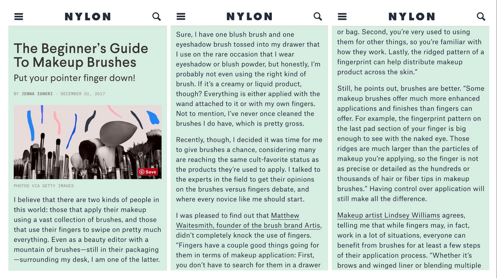 NYLON The Beginners Guide to Makeup Brushes Omayma Ramzy