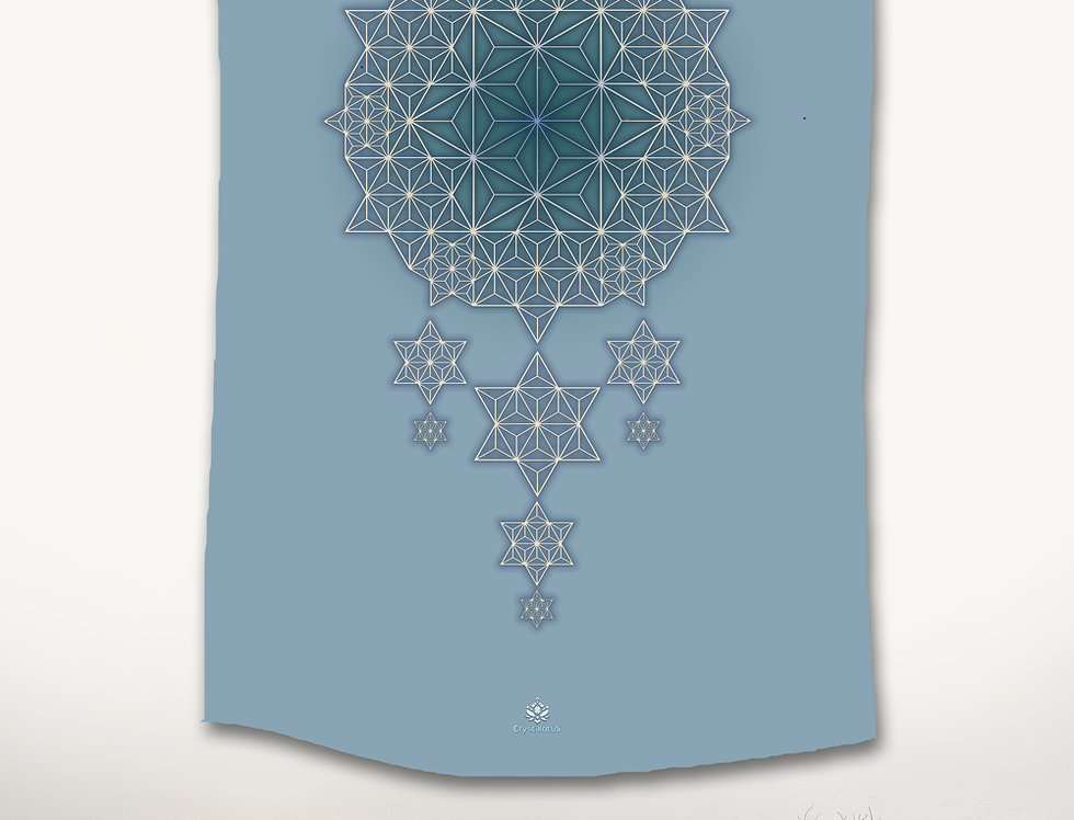 Asanoha STAR DREAMS Tapestry -Blue