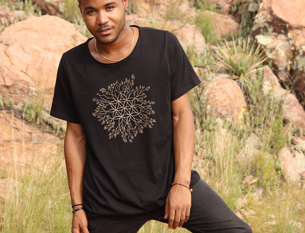 Connection Flower of life Raw neck tee