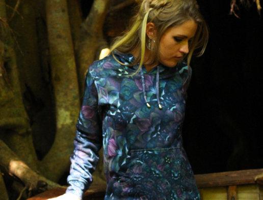 Womens Pullover hoodie - Fractal Petals