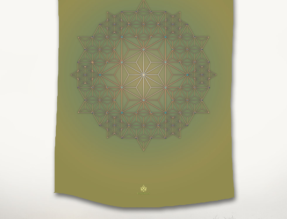 Green Star - Asanoha wall hanging Tapestry
