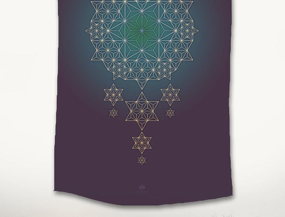 Asanoha STAR DREAMS Tapestry -Purple