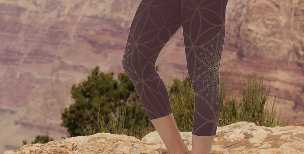Burgundy Bloom Capri Yoga Leggings