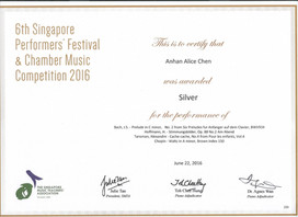6th Singapore Performers' Festival & Chamber Music Competition 2016 Anhan Alice Chen