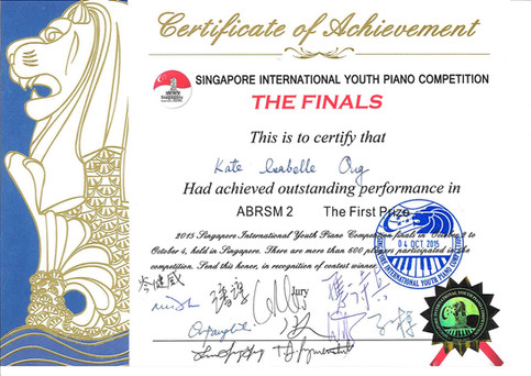 2015 Singapore International Youth Piano Competition, Kate Isabelle Ong