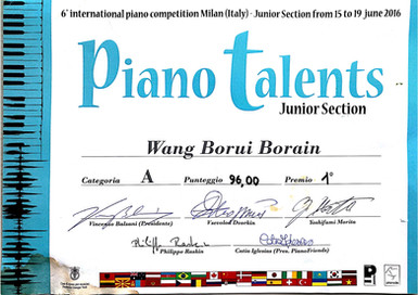 6th inernational piano competition Milan piano talents Wang Borui Borain