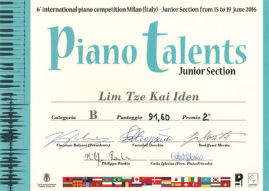 6th inernational piano competition Milan piano talents lim tze kai iden