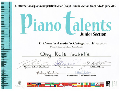 6th inernational piano competition Milan piano talents Kate Isabelle Ong