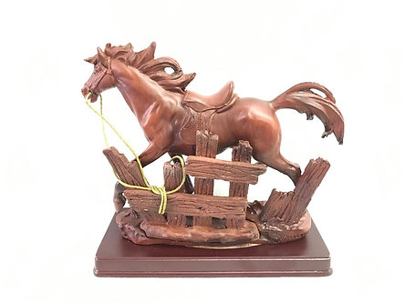 Small Brown Horse With Fence Figurine