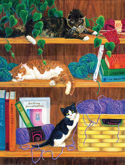 "500 Piece Cat/Kitten Jigsaw Puzzle by SunsOut ""A Good Yarn"""