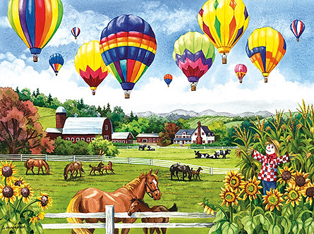 "500 Piece Horse Jigsaw Puzzle by SunsOut ""Balloons Over Fields"""