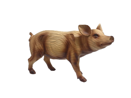 "Large ""Wooden"" Pig Figurine"