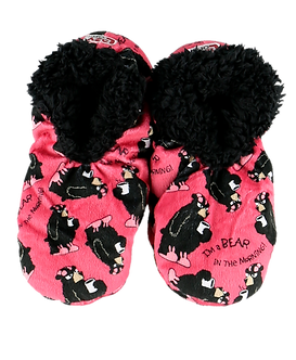 """I'm a Bear in the Morning"" Bear Lazy One Fuzzy Feet Slippers​​​​​​​"
