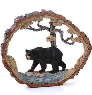 Black Bear and Tree Cut-Out Figurine