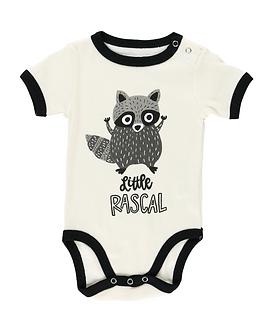 Little Rascal Raccoon Baby Boy Onesie by Lazy One