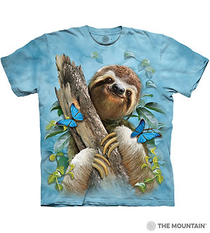"""""""Sloth and Butterflies"""" Adult T-Shirt by The Mountain"""
