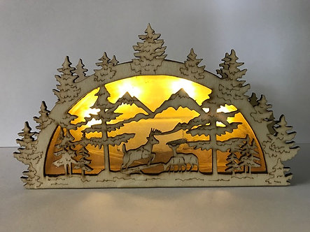 Unique Deer Cut-Out Light-Up Box Figurine