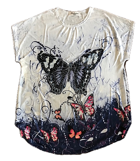 Beaded Blue Butterfly Shirt by Portman Studios