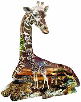 "700 Piece Giraffe Shaped Jigsaw Puzzle by SunsOut ""African Spots"""