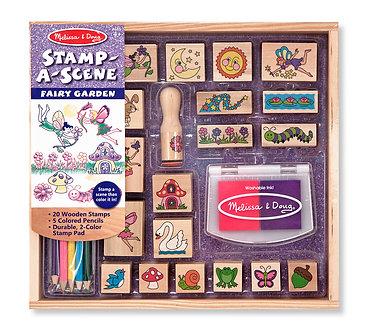 Melissa & Doug Fairy Garden Stamp-A-Scene Wooden Stamp Set