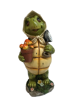 Large Gardening Girl Turtle Figurine by Gerson