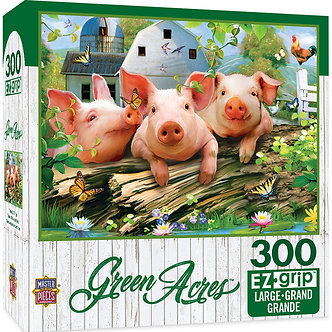 "300 Piece Green Acres ""Three Lil Pigs"" Pig Jigsaw Puzzle by MasterPieces"