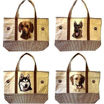 Dachshund, German Shepherd, Husky, Yellow Lab Dog Canvas Tote Bag, by E&S Pets