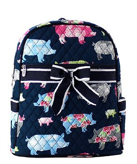Farmhouse Pig Quilted Backpack by NNK Creations