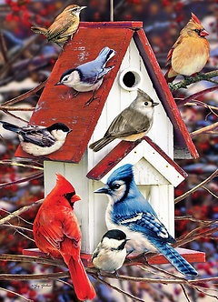 "1000 Piece Bird Jigsaw Puzzle by Cobble Hill ""Winter Birdhouse"""