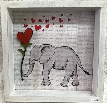 Love Elephant with Heart Frame Wall Art Decor by Ganz