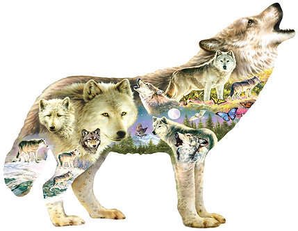 """750 Piece Wolf Shaped Jigsaw Puzzle by SunsOut """"Meadow Wolf"""""""