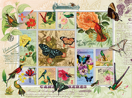 """1000 Piece Butterfly Jigsaw Puzzle by SunsOut """"Butterfly and Hummingbird Flight"""""""