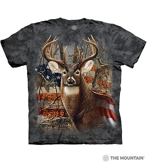 """Patriotic Buck"" Deer Adult T-Shirt by The Mountain"