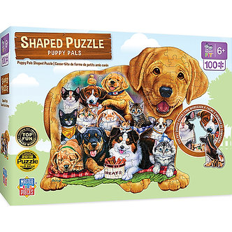 100 Piece Puppy Pals Shaped Jigsaw Puzzle by MasterPieces